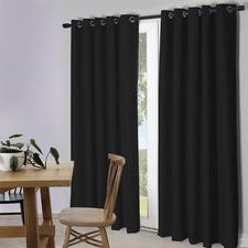 Black Lexington Eyelet Blockout Curtains (Set of 2)