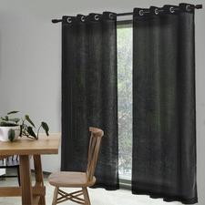 Ebony Valerian Eyelet Sheer Curtains (Set of 2)