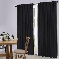 Black Lexington Concealed Tab Top Blockout Curtains (Set of 2)
