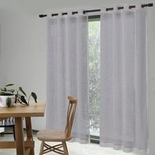 Silver Grey Valerian Eyelet Sheer Curtains (Set of 2)