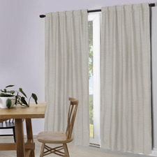 White Lexington Concealed Tab Top Blockout Curtains (Set of 2)