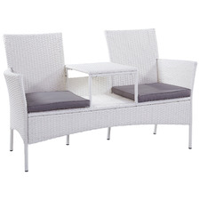 White Porto PE Rattan Outdoor Jack & Jill Bench