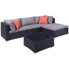 4 Seater Black Porto PE Rattan & Aluminium Outdoor Sectional Sofa Set