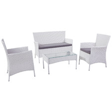 White Porto PE Rattan Outdoor Lounge Set