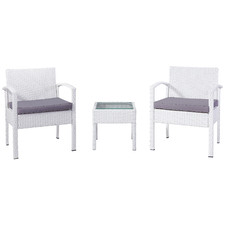 White Porto PE Rattan Outdoor Chat Set