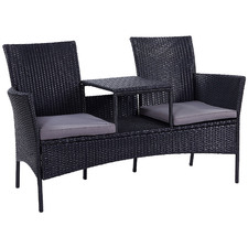 2 Seater Porto PE Rattan Outdoor Jack & Jill Bench