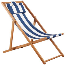 Blue Striped Seaside Acacia Wood Outdoor Deck Chair with Pillow
