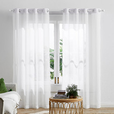 Snow White Valerian Eyelet Sheer Curtains (Set of 2)