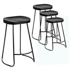 66cm Vintage-Style Black Elm Wood Barstools with Black Legs (Set of 4)