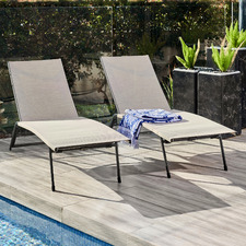 Deacon Steel & Textilene Outdoor Sun Lounges (Set of 2)