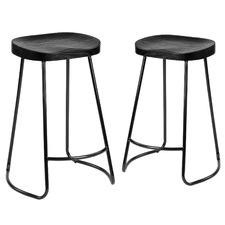 66cm Premium Vintage-Style Elm Wood Barstools with Black Legs (Set of 2)