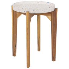 Mazie Terrazzo & Wood Outdoor Side Table