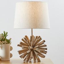 56cm Driftwood Ball Table Lamp