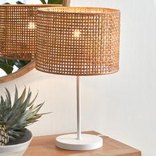 Lattice Rattan & Steel Table Lamp