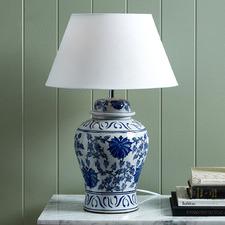 Blue Ceramic Ginger Jar Table Lamp