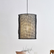 Black Atlas Jute 55cm Tall Pendant Light