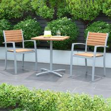 2 Seater Natural Maui Eucalyptus Wood Outdoor Bistro Set