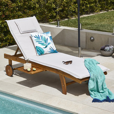 Monaco Wheeled Outdoor Hardwood Sun Lounger