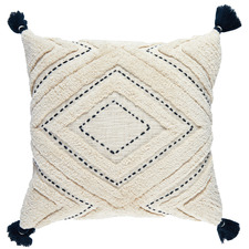 Navy Tufted Elkie Cotton Cushion with Tassels