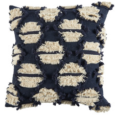 Navy Hand-Embroidered Demi Cotton Cushion