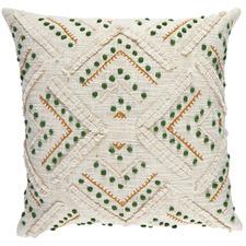 Green Embroidered Prairie Cotton Cushion