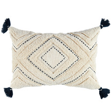 Navy Tufted Elkie Rectangular Cushion with Tassels
