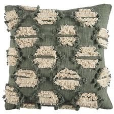 Green Hand-Embroidered Demi Cotton Cushion