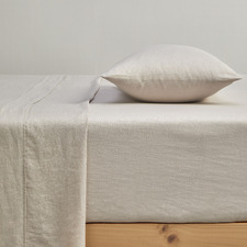 Oatmeal Pure French Flax Linen Fitted Sheet