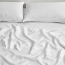 White Pure French Flax Linen Flat Sheet