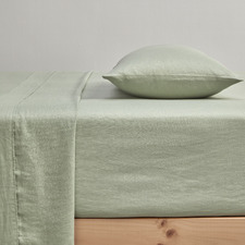 Sage Pure French Flax Linen Fitted Sheet