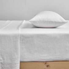 White Pure French Flax Linen Fitted Sheet
