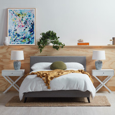Grey Logan Bed & Side Table Set