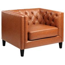 Tan Thiago Faux Leather Armchair