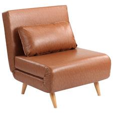 Tan Aero Premium Faux Leather Single Sofa Bed