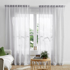 Silver Grey Valerian Concealed Tab Top Sheer Curtains (Set of 2)