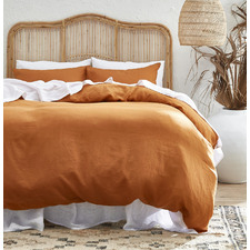 Rust Pure French Flax Linen Quilt Cover Set