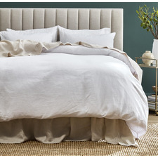 White Pure French Flax Linen Quilt Cover Set