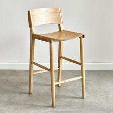 65cm  Kobe High Back Ash Wood Barstool
