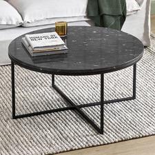 80cm Black Serena Round Marble Coffee Table