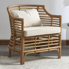 Natural Marianne Rattan Cushioned Armchair