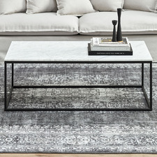 110cm White Serena Italian Carrara Marble Coffee Table