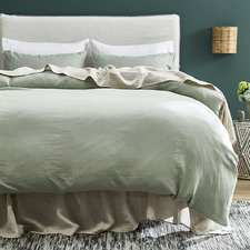 Sage Pure French Flax Linen Quilt Cover Set