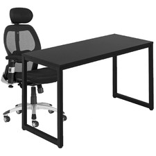2 Piece 140cm Carnegie Office Desk & Deluxe Mesh Ergonomic Office Chair Set