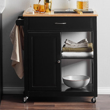Black Karli Kitchen Island Cart Trolley