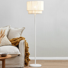 White Paper Rope Floor Lamp