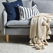 Oatmeal Wattle Knitted Cotton Throw