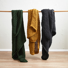 Charcoal Chunky Knit Throw