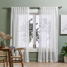 Snow White Valerian Concealed Tab Top Sheer Curtains (Set of 2)