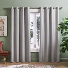 Light Grey Lexington Eyelet Blockout Curtains (Set of 2)
