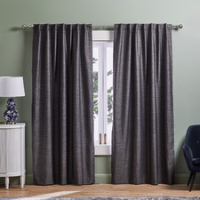 Charcoal Lexington Concealed Tab Top Blockout Curtains (Set of 2)